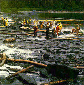 Catastrophic oil spills like that of the Exxon Valdez in Alaska